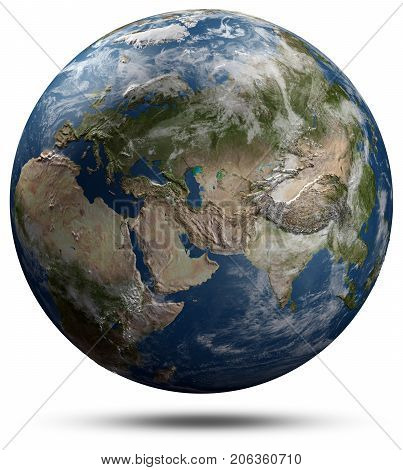 Earth globe - Eurasia. Elements of this image furnished by NASA 3d rendering