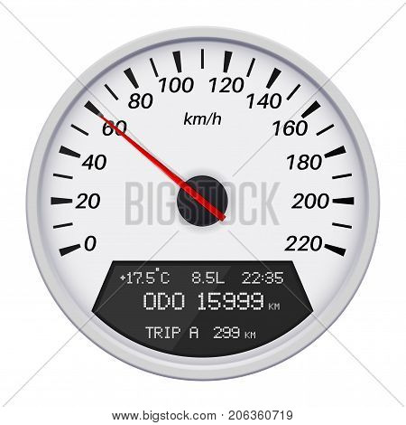 Car speedometer. Computer dashboard. Vector illustration isolated on white background