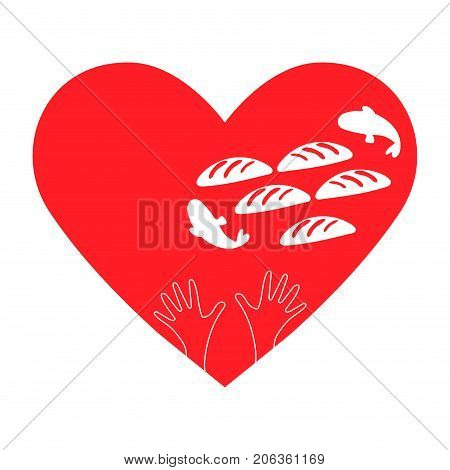 Vector illustration of Gospel story: Feeding the multitude or the Feeding of the 5000 with Jesus miracle of the five loaves and two fish. Heart shape hands 5 breads and 2 fish. Charity sign.
