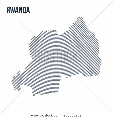 Vector Abstract Hatched Map Of Rwanda With Curve Lines Isolated On A White Background.