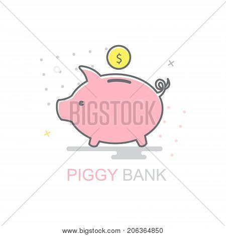 Piggy bank and golden coin. Vector icon