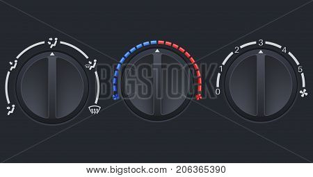 Car dashboard air conditioner black switches. Vector 3d illustration