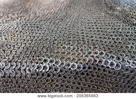 Close up of knight chain armor for sale
