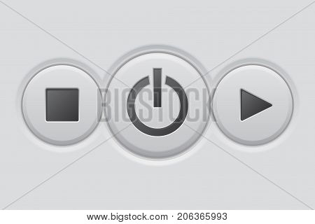 Music buttons. On and off, play, stop. Vector 3d illustration