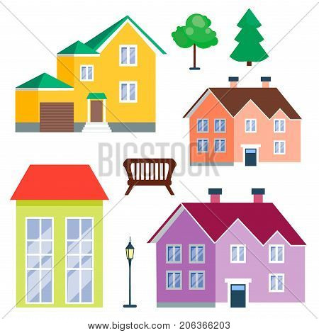Vector city with cartoon houses and buildings. City space with road on flat style urban landscape. Street view with cityscape background modern flat style