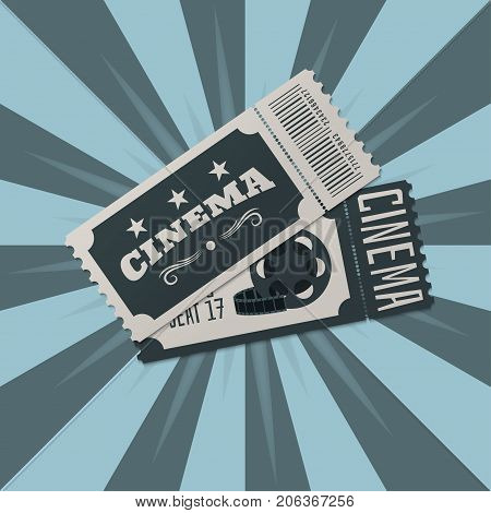 Tickets. Two tickets to the cinema on the background of the rays. Vector illustration