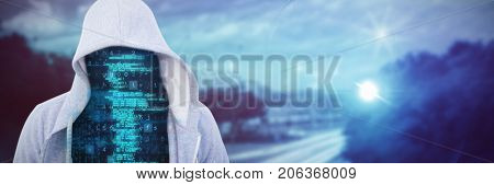 Robber in gredy hoodie against high angle view of crowded buildings in city
