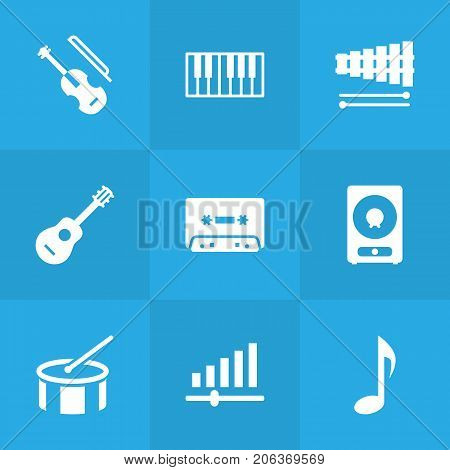 Collection Of Knob, Amplifier, Fiddle And Other Elements.  Set Of 9 Melody Icons Set.