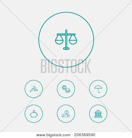 Collection Of Protect, Savings, Bank And Other Elements.  Set Of 7 Budget Outline Icons Set.