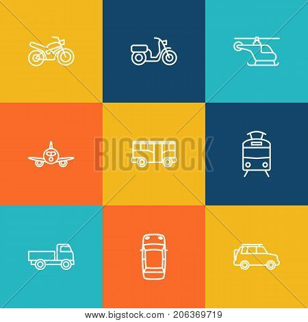 Collection Of Moped, Suv, Helicopter And Other Elements.  Set Of 9 Shipping Outline Icons Set.
