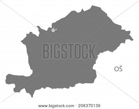 Os Region Map Of Kyrgyzstan Grey Illustration Silhouette Shape