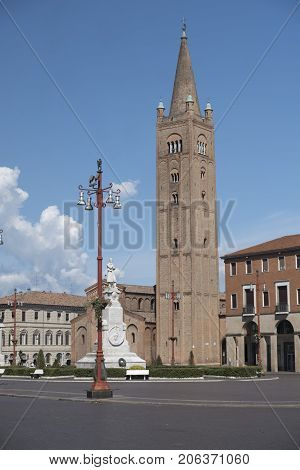 Forli (Emilia Romagna Italy): the Aurelio Saffi square with church of San Mercuriale and other historic buildings
