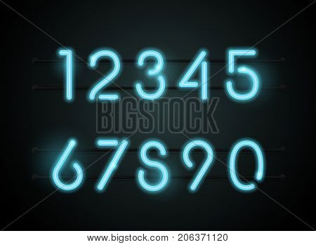 Neon Light sign Alphabet and number Vector Font. Type letters Neon tube background. Glowing Neon Bar Alphabet. Realistic style