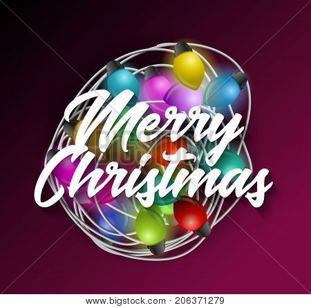 Intricate garlands and Merry Christmas text. Beautiful colorful holidays decorations. Christmas lights vector illustration