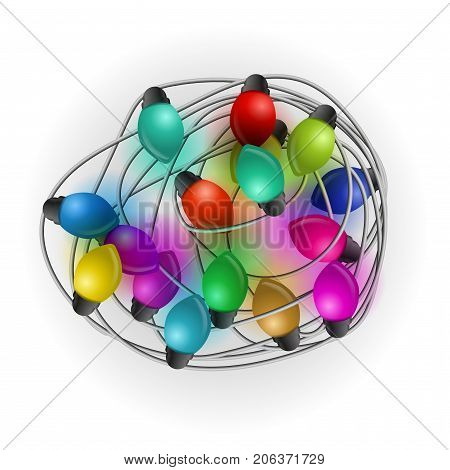 Intricate garlands. Beautiful colorful holidays decorations. Christmas lights on white background. Vector illustration