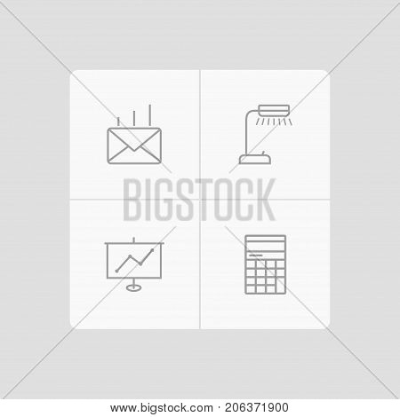 Collection Of Reading-Lamp, Counter, Show And Other Elements.  Set Of 4 Bureau Outline Icons Set.
