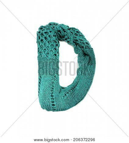 Knitting alphabet. Letter of knit handmade alphabet on white background. Letter D of knit handmade alphabet