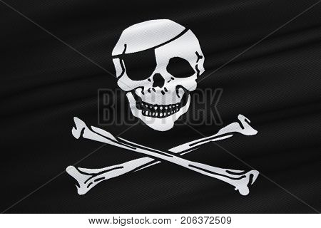 3D Rendering, Fabric Texture Of The Pirate Flag Waving In Wind, Calico Jack Pirate Symbol, Hacker An
