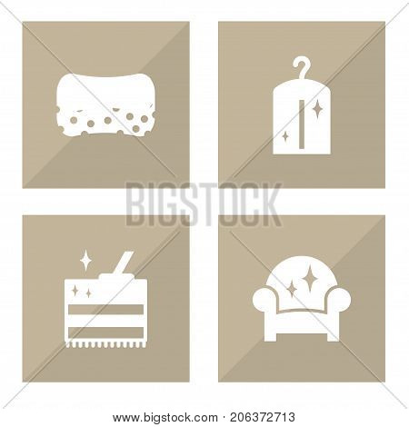 Collection Of Clothes, Armchair, Wisp And Other Elements.  Set Of 4 Harvesting Icons Set.