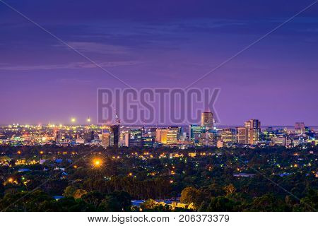 Adelaide city twilight view from the hills South Australia
