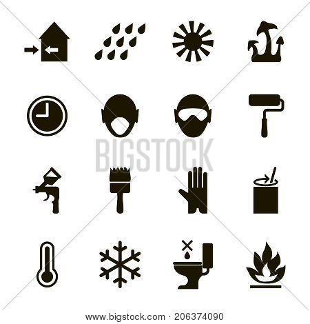 Paint or enamel features and safety icons set -usage,  health, safety and environmental information