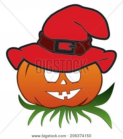 Funny halloween pumpkin with hat on the leaves isolated on white background