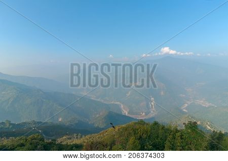 Ramitey view point - Sikkim India. From this view point twists and turns of river Tista or Teesta can be seen below River Tista flows through sikkim state