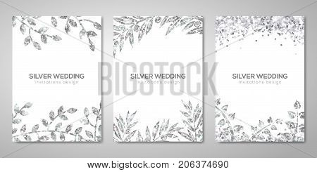 Banners set with silver floral patterns on white. Vector illustration. Flyer design layout templates for wedding cards, save the date, business brochure design. Silver Olive laurel branches decor