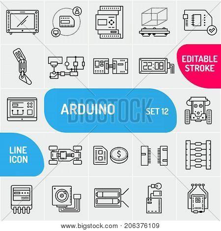 Arduino line icons, electronics components icon set.