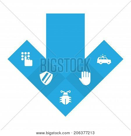 Collection Of Virus, Protection, Keypad And Other Elements.  Set Of 5 Safety Icons Set.