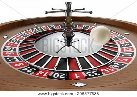 Casino Wheel With White Ball In Mid Air