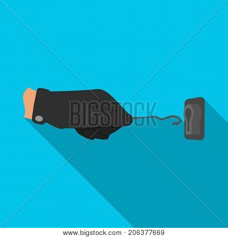 Lockpick in the hand of the criminal. Latchkey, thief tool, crime single icon in flat style vector symbol stock illustration .