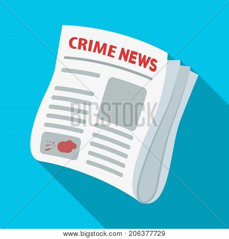 Newspaper crime news.Crime article in the press single icon in flat style vector symbol stock illustration .
