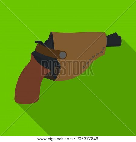 Pistol in the holster, firearms. Pistol detective single icon in flat style vector symbol stock illustration .