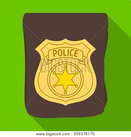 A badge, a police badge. Detective and police single icon in flat style vector symbol stock illustration .
