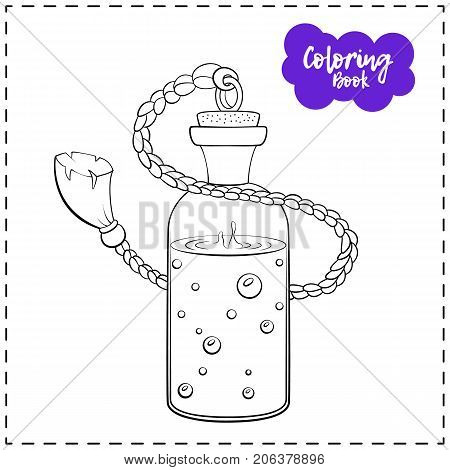 Vector outline illustration of a magic potion for Halloween on a white background.
