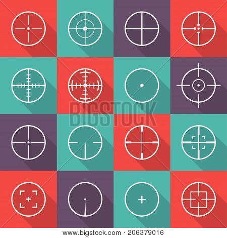 Crosshair icon set. Focus of the eyepiece, optical instrument sight, thin lines centered on a data point in a chart. Vector flat style cartoon illustration isolated on white background