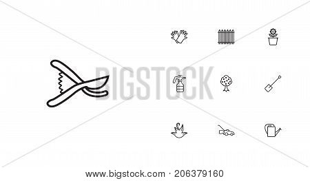 Collection Of Garden, Palisade, Safer Of Hand Elements.  Set Of 10 Horticulture Outline Icons Set.