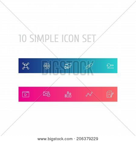 Collection Of Web Design, Columns, Block And Other Elements.  Set Of 10 Optimization Outline Icons Set.