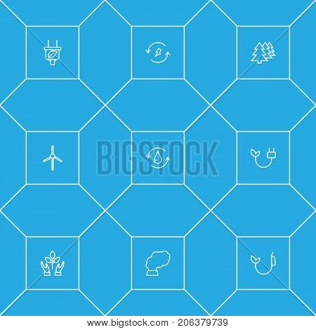 Collection Of Wind Turbine, Renewable Energy, Afforestation And Other Elements.  Set Of 9 Bio Outline Icons Set.