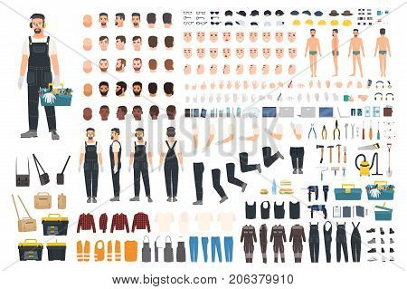 Technical worker creation kit. Set of flat male cartoon character body parts, skin types, facial gestures, clothing, working tools and accessories isolated on white background. Vector illustration