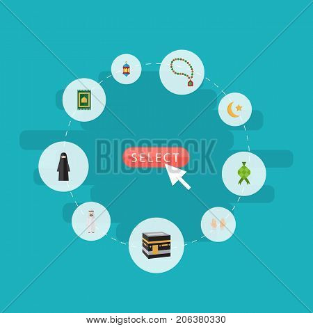 Flat Icons Islamic Lamp, Bead, Malay And Other Vector Elements