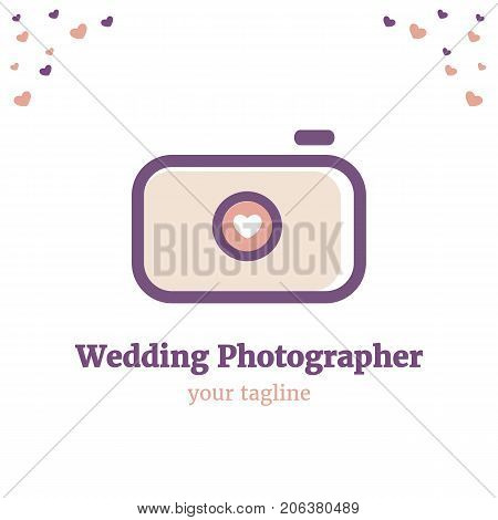 Vector logo template for wedding photography. Illustration of camera with heart on the lens in peach and wine colors. Wedding photographer icon. EPS10. Creative and cute logotype design for girl-photographer.