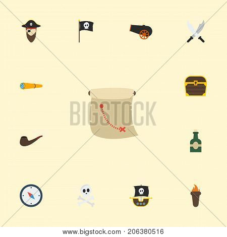 Flat Icons Treasure Map, Cranium, Tobacco And Other Vector Elements