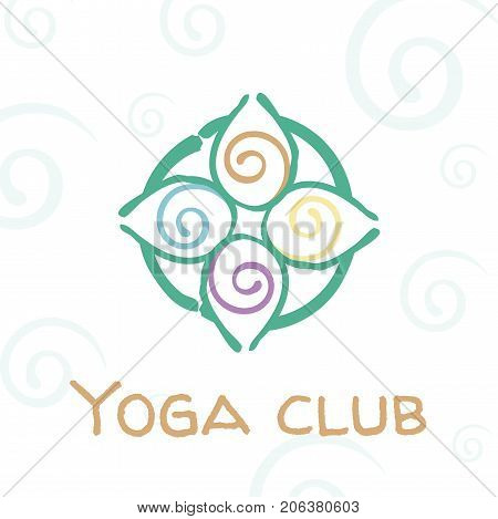 Vector illustration for a yoga club event school spa center symbolizing energy movement life.