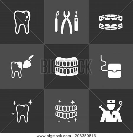 Collection Of Orthodontist, Decay, Stabilize And Other Elements.  Set Of 9 Teeth Icons Set.