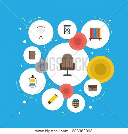 Flat Icons Contact, Trash Basket, Board Stand Vector Elements