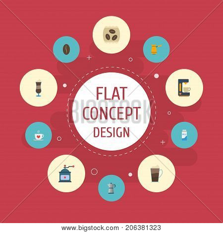 Flat Icons Mocha, Paper Box, Ibrik And Other Vector Elements