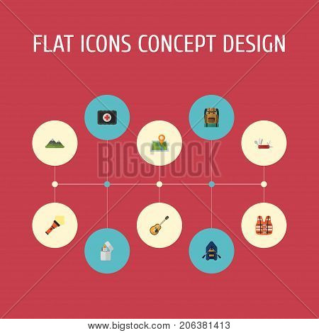 Flat Icons Location, Penknife, Bag And Other Vector Elements
