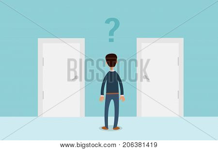 Businessman standing in front of two doors. Man in front of a choice. Vector stock.